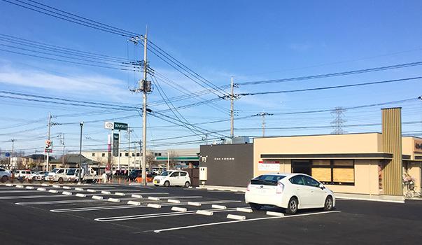 守谷市立沢にできたやよい軒駐車場。