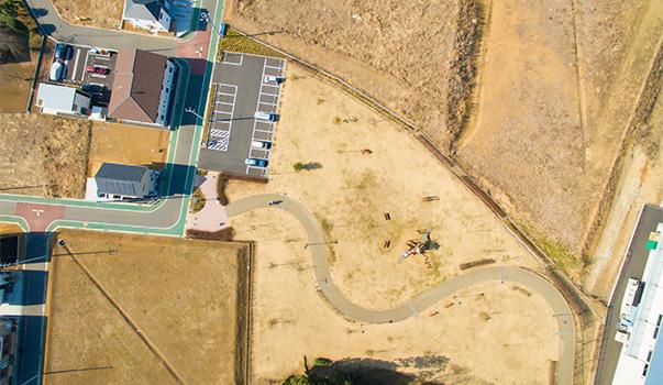ドローン取手市の空撮風景公園