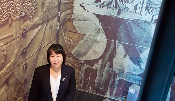 ブームスのシークレットゲートカフェ前にて。取手市在住小峰直保子さん韓国に15年もお仕事で行っていました。