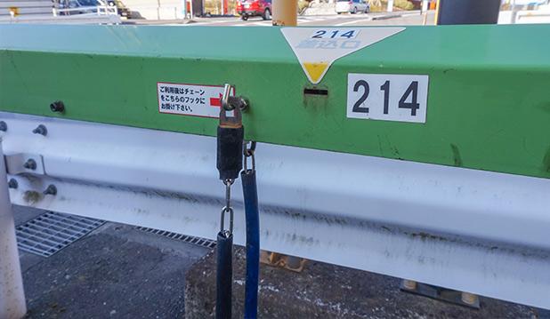 駐輪場ボックスヒル取手駅前チェーンは備え付けられています。