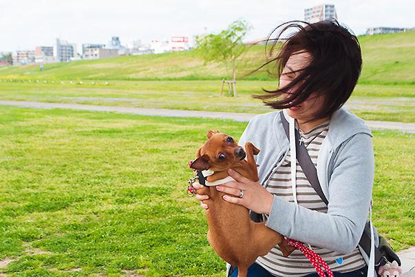 取手市緑地公園で愛犬と一緒に撮影